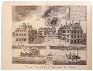 A Prospect of the Colledges in Cambridge in New England. Engraved by William Burgis in 1726. The Description compiled by William Loring Andrews