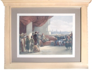 "Hand-Colored Lithograph: ""Interview with The Viceroy of Eygpt at His Palace, Alexandria, May 12th, 1839."" David Roberts."