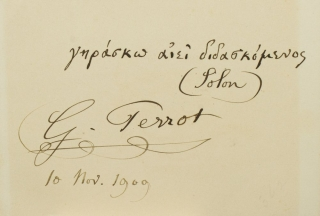 "Card signed ""G. Perrot"" with a quote in Greek from Solon. Georges Perrot"