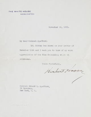 Typed Letter Signed, on White House Stationery, to Edward E. Spafford. Herbert Hoover