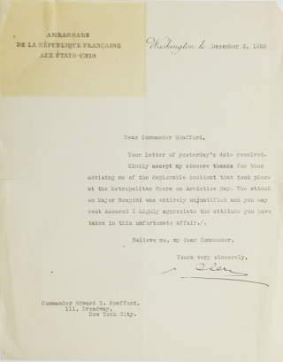 Typed Letter Signed, on the Stationery of the French Embassy (Ambassade de la Republique...