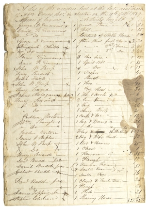 "Manuscript of ""A lis (sic) of the vendue led at the late residence of Abn. Emens, des. in Chester (N.J.) on the 11th of April 1839."" New Jersey Auction."