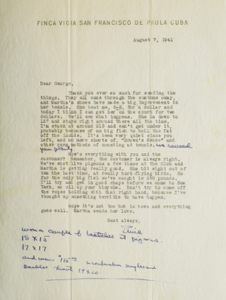 "Typed Letter, signed (""Ernie""), to George Brown, his boxing coach and trainer"