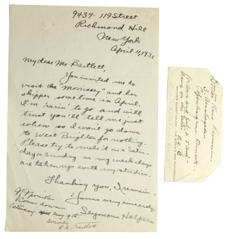 "Two autograph notes, first signed in margin of another letter as ""R. A. Bartlett"" and the..."