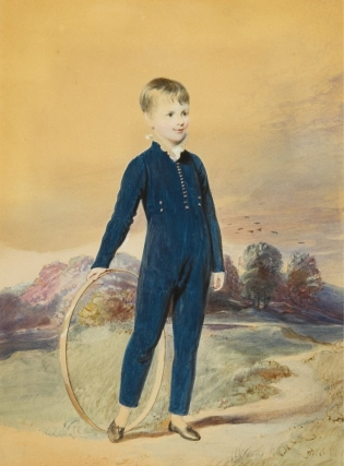 Two Portraits: Boy with Hoop and Young Girl in a Landscape