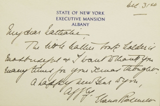Autograph Note Signed, with autograph envelope. To Miss E--- Hyde 40 East 62nd Street, NYC. On STate of New York, Executive Mansion Card stock. Dated Dec. 3, (1930). Thank you note. Eleanor Roosevelt.