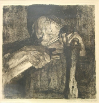 "Etching on Paper: ""Beim Dengeln."" Signed ""Kathe Kollwitz"" lower right in pencil. Kathe Kollwitz"