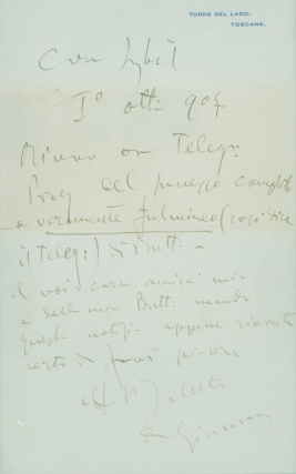 "Autograph Letter, signed (""G Puccini""), to Sybil [Seligman]. Giacomo Puccini."