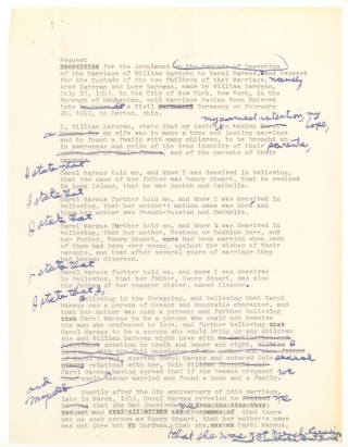 Archive of Drafts of Letters and Documents relating to Saroyan's separation and divorce from his wife Carol Marcus, and her affair with cartoonist Al Capp. William Saroyan.