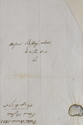 "Autograph letter signed to his publisher ""Monsieur Bossange, Libraire"". Victor Cousin"