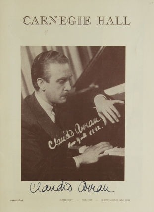 Carnegie Hall Program, SIGNED BY CLAUDIO ARRAU. Claudio Arrau