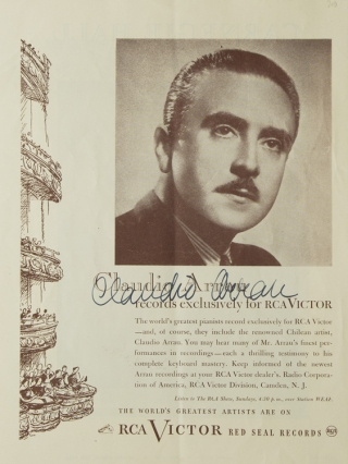 Carnegie Hall Program, SIGNED BY CLAUDIO ARRAU. Claudio Arrau.