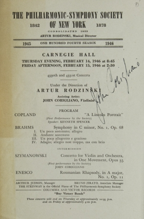 Carnegie Hall Program, SIGNED BY JOHN CORIGLIANO, violinist, who performed with the...