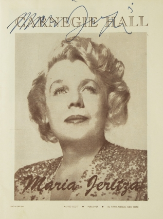 Carnegie Hall Program, SIGNED BY MARIA JERITZA, soprano. Performance date April 29, 1946. Maria...