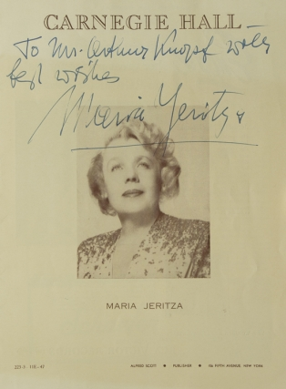 Carnegie Hall Program, INSCRIBED BY MARIA JERITZA, soprano. Performance date March 11, 1947....
