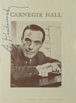 Carnegie Hall Program, SIGNED BY ALEXANDER BRAILOWSKY, pianist. Performance date December 3,...