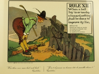 Rules of Golf. Humorous colored prints depicting various rules of golf. Golf, Charles S. Crombie.