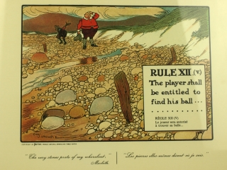 Rules of Golf. Humorous colored prints depicting various rules of golf