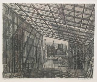 "Copper engraving: ""Penthouse Roof"" Armin Landeck, American."