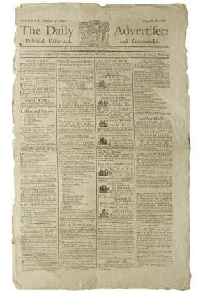 The Daily Advertiser: Political, Historical, and Commercial. Monday, September 3, 1787. Vol. III No. 788. New York City.