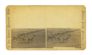 "Three stereographs of farm laborers operating horse-drawn threshers and binders on ""The Great Wheat Farms of the Red River Valley, Owned by Gen. Geo. W. Cass, Philadelphi; Benj. P. Cheney, Esq. Boston, ""etc. Minnesota, . Jay Haynes, ranklin."