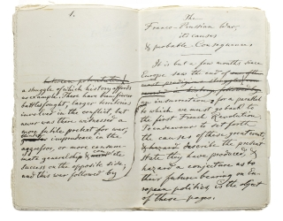 "Manuscript, working draft, entitled ""The Franco- Prussian War, its causes & probable..."