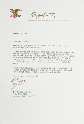 "Typed letter signed ""Gene"" Gene Autry"