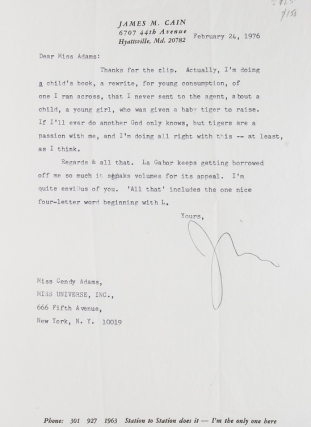 "Two typed letters, signed ""Jim"", to columnist Cindy Adams. James M. Cain."