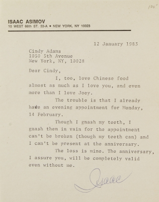"Typed letter signed ""(Isaac""), to columnist Cindy Adams. Isaac Asimov."