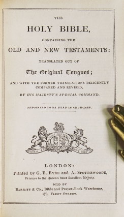 The Holy Bible, containing the Old and New Testaments [with] The Book of Common Prayer