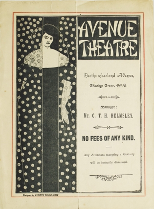 "Avenue Theatre. Northumberland Avenue. Featuring ""Arms and the Man"" by Bernard Shaw & ""The Man in the Street"" By Louis N. Parker. Beardsley."