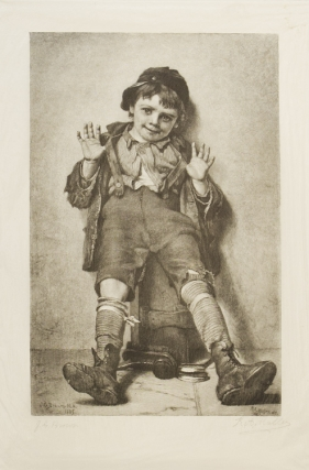 """I'm Perfectly Happy."" a little shoeshine boy with his hands up. Engraving by R.A. Mueller after..."
