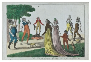 Le Jeu de Longue Paume: hand-colored etching. Tennis.