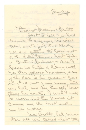 "Autograph Letter, signed (""Bill""), to Mrs. Marrion Anderson & her son Arthur (""Bratto"")...."