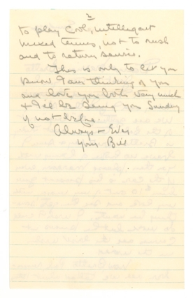 "Autograph Letter, signed (""Bill""), to Mrs. Marrion Anderson & her son Arthur (""Bratto"")"