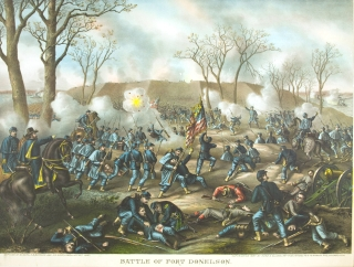 Battle of Fort Donelson. Capture of Genl. S. B. Buckner, February 16th 1862. [Chromolithographic print]. Civil War, Louis Kurz.