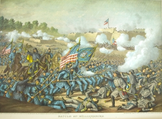 Battle of Williamsburg. General Hancock's Charge May 5 1862. [Chromolithographic print]. Civil War.