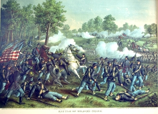 Battle of Wilson's Creek. Aug. 10 1861. [Chromolithographic print]. Civil War.