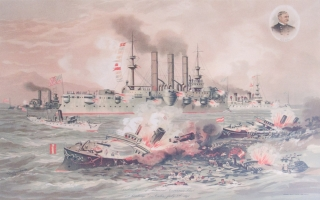 """Chromolithographic Print: """"Destruction of Admiral Cervera's Fleet at Santiago De Cuba, July 3rd, 1898"""" showing battle scene and inset at upper right is circular portrait of W.(infield) S.(cott) Schley (1839-1909)"""