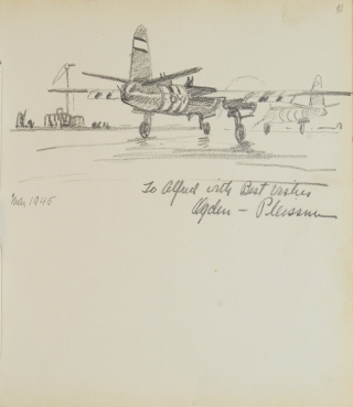 Pencil Sketch of two airplanes on a landing field