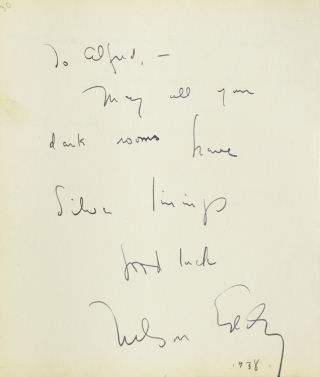 "Autograph Note Signed to Alfred Eisenstaedt, n.p., 1938 [with, on verso:] GODDARD, Paulette, ""+..."