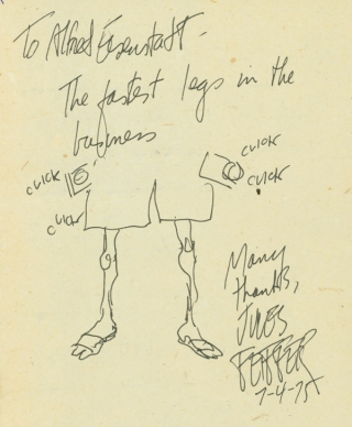 Autograph Note Signed, with a drawing, July 1975 [with, on verso:] Autograph Notes Signed by...