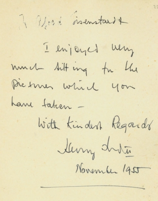 Autograph Note Signed to Alfred Eisenstaedt, n.p., November 1955. Henry II Ford