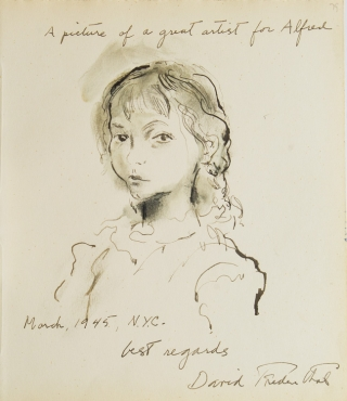 Original ink and wash drawing of the head and shoulders of a young girl, inscribed to...