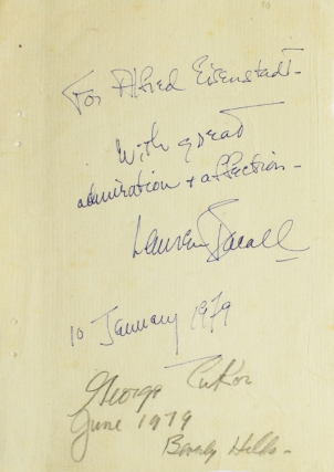 "Autograph Note, Signed, ""For Alfred Eisenstaedt with great admiration & affection Lauren Bacall..."