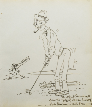 "Original cartoon of golfer being photographed, signed and inscribed ""To Alfred Eisenstaedt from the 'golfing demon himself' Dale Berounis-K[ansas] C[ity] Star--'39"". Golf, Dale Berounis."