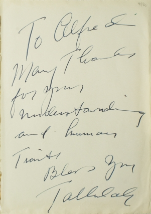 Autograph Note Signed to Alfred Eisenstaedt, n.p., n.d. Tallulah Bankhead