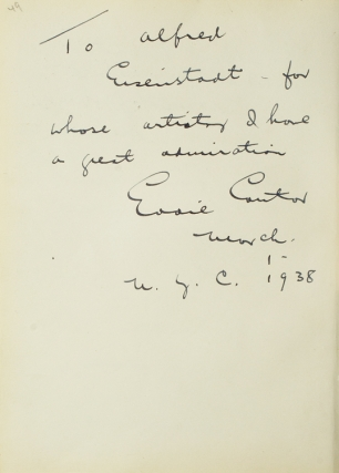 Autograph Note Signed to photographer Alfred Eisenstaedt, New York, 1938 [with, on verso:] Autogtraph Notes Signed by HOFFMANN, Josef, DeMILLE, Cecil B., and DURBIN, Deanna, 1937-38. Eddie Cantor.