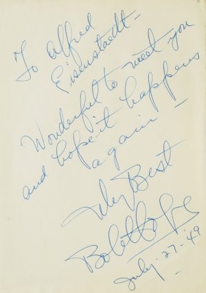 Autograph Note Signed to Alfred Eisenstaedt, July 27, 1949. Bob Hope