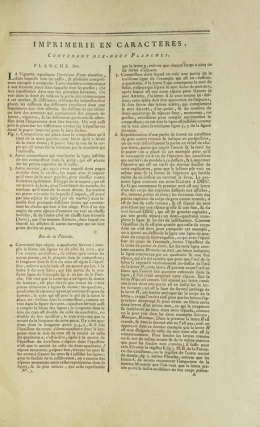 Imprimerie en Caracteres. Contenant dix-neuf Planches. [Extracted from: DIDEROT, Denis, & Jean Le...